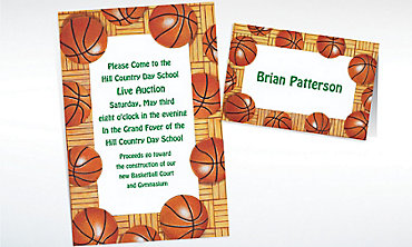 Custom Basketball Border Invitations & Thank You Notes