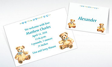 Custom Teddy Bears with Blue Birth Announcements Invitations & Thank You Notes