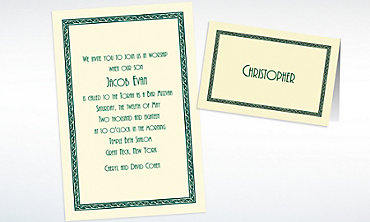 Custom Green Tapestry Border Ecru Invitations & Thank You Notes