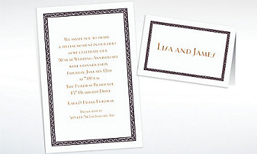 Custom Black Tapestry Border White Invitations & Thank You Notes