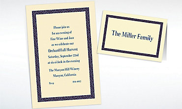 Custom Navy Moroccan Border Ecru Invitations & Thank You Notes