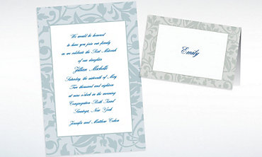 Custom Gray Damask Border Invitations & Thank You Notes