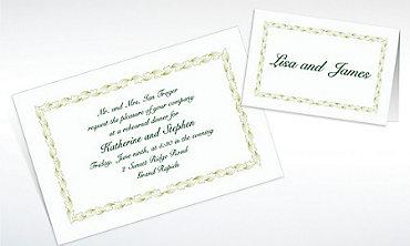 Custom Sage Leaf Scroll Invitations & Thank You Notes