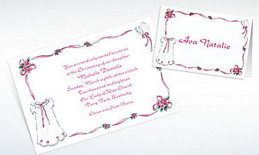 Custom Girl's Christening Gown Invitations & Thank You Notes