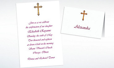 Custom Small Detailed Cross Invitations & Thank You Notes