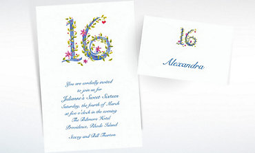 Custom Floral Sweet 16 Invitations & Thank You Notes