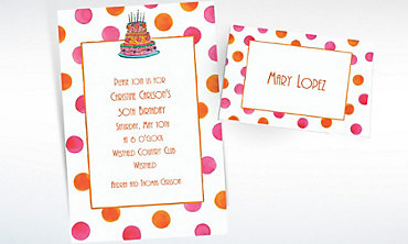 Custom Girly Cake with Dots Birthday Invitations & Thank You Notes