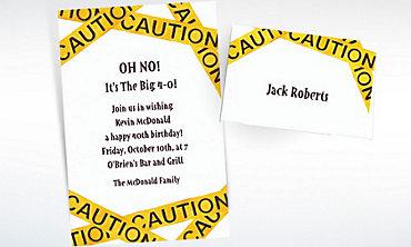 Custom Caution Tape Birthday Invitations & Thank You Notes