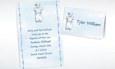 Custom Christening Suit on Blue Invitations & Thank You Notes