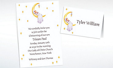 Custom Moon with Cross and Baby Invitations & Thank You Notes