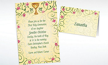 Custom Chalice with Spring Flowers Invitations & Thank You Notes
