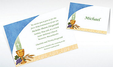 Custom Chalice with Blue Pattern Invitations & Thank You Notes