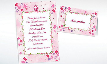 Custom Cross with Pink Buds Invitations & Thank You Notes