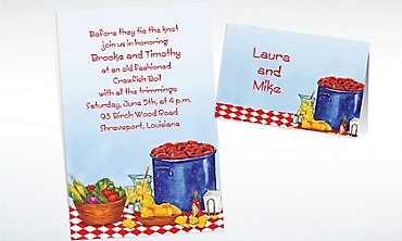 Custom Party with Crawfish Invitations & Thank You Notes