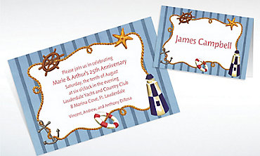 Custom Nautical Objects on Stripe Invitations & Thank You Notes