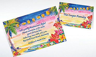 Custom Pretty Luau Sunset Luau Invitations & Thank You Notes