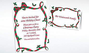 Custom Christmas Ribbon with Holly Invitations & Thank You Notes
