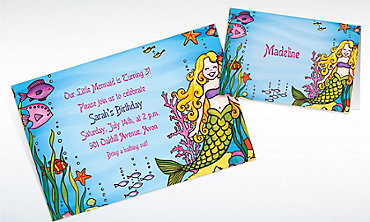 Custom Underwater Mermaid Invitations & Thank You Notes
