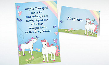 Custom Pretty Ponies Invitations & Thank You Notes