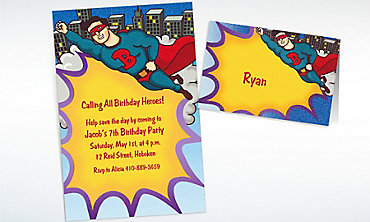 Custom Flying Superhero Invitations & Thank You Notes