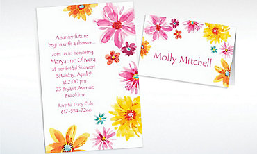 Custom Big Painterly Flowers Invitations & Thank You Notes