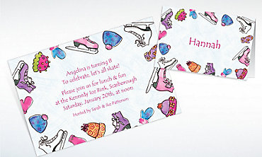 Custom Girl's Ice Skating Party Invitations & Thank You Notes
