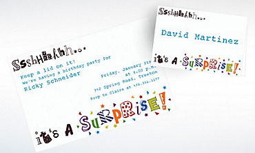 Custom Sshhh… Surprise Party Invitations & Thank You Notes