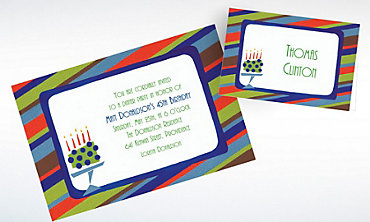 Custom Fetching Cake on Stripe Invitations & Thank You Notes