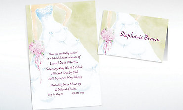 Custom Soft Fashion Gown Wedding Invitations & Thank You Notes