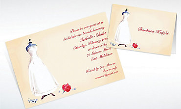 Custom Bridal Gown Dress Form Bridal Shower Invitations & Thank You Notes