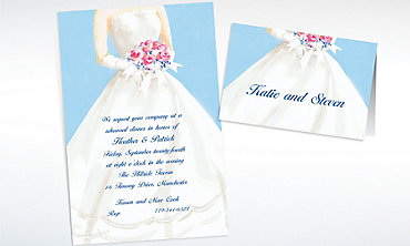 Custom Serene Bride with Bouquet Bridal Shower Invitations & Thank You Notes