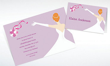 Custom Elegant Bouquet Toss Wedding Invitations & Thank You Notes