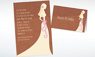 Custom Classy Bride on Brown Bridal Shower Invitations & Thank You Notes