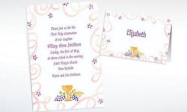 Custom Pretty Chalice & Flowers Invitations & Thank You Notes
