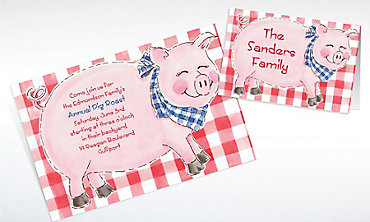 Custom Big Pig Roast Invitations & Thank You Notes