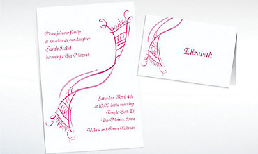 Custom Tossed Tallis Feminine Invitations & Thank You Notes