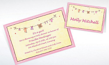 Custom Pink Laundry Baby Shower Invitations & Thank You Notes