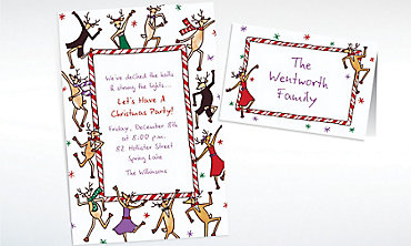Custom Dancing Reindeer Invitations & Thank You Notes