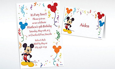 Custom Mickey Mouse Party Invitations & Thank You Notes
