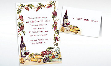 Custom Wine, Cheese & Grape Vines Invitations & Thank You Notes
