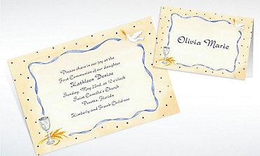Custom Chalice, Dove & Ribbon Invitations & Thank You Notes