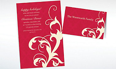 Custom Red Holiday Filigree Invitations & Thank You Notes