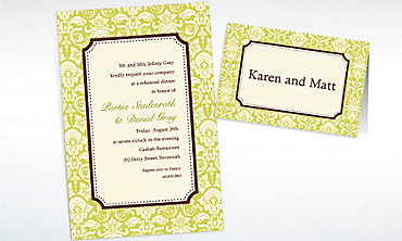 Custom Classic Damask Lime Border Invitations & Thank You Notes