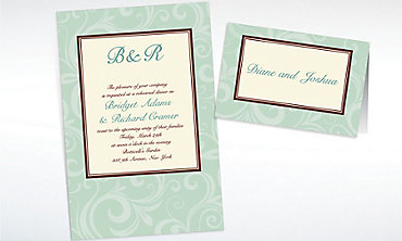 Custom Floating Mint Border Invitations & Thank You Notes