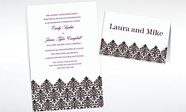 Custom Unbridled Filigree Black Invitations & Thank You Notes