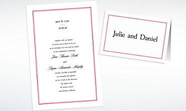 Custom Dot & Line Red Invitations & Thank You Notes