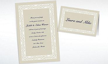Custom Embellished Border Beige Invitations & Thank You Notes