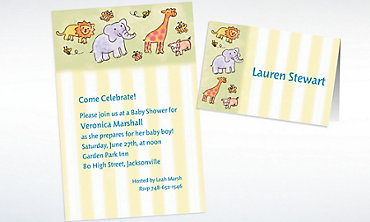 Custom Tossed Animals & Stripe Baby Shower Invitations & Thank You Notes