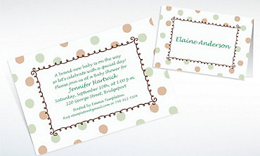 Custom Green Dots Border Baby Shower Invitations & Thank You Notes