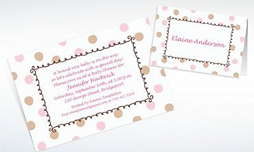Custom Pink Dots Border Baby Shower Invitations & Thank You Notes